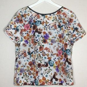 WAYF Floral Top with Mesh Faux Wrap V Back M